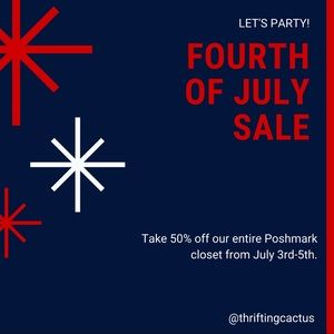 Happy fourth- entire closet 50%